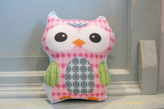 Owl stuffed pillow toy by PETUNIAS cute fun room decor colorful stuffy animal small toddler kids child photo prop