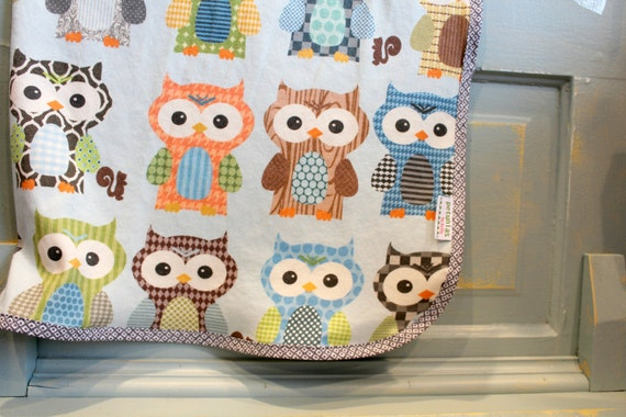 Hooty - Organic Interlock Knit Blanket by PETUNIAS newborn baby gift photo prop owls blue brown green orange swaddle wrap nursing cover