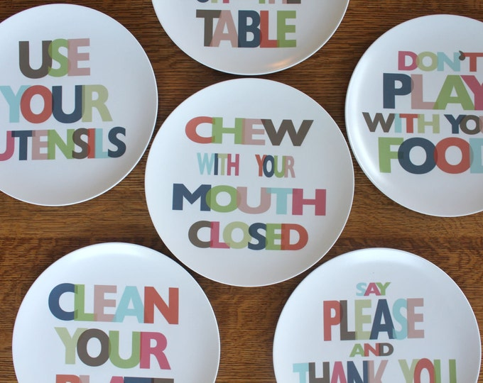 MIND YOUR MANNERS set of 6 Melamine Plates