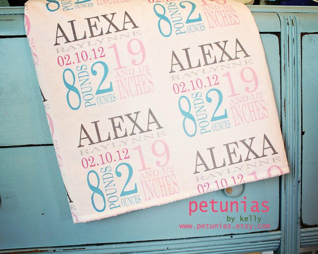 Birth Stat Custom Minky Personalized Baby Blanket By Petunias