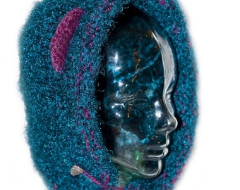 Teddy Bear Ear Hat - Purple and Blue - Bonnet Style