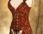 Red and Gold Tailed Corset Plus Size