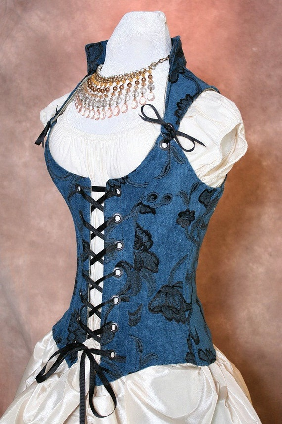 Waist 37 to 39 Sapphire Blue and Black Rose Scoop Neck Courtier