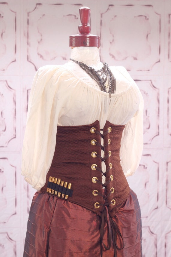 Waist 44-46 Chocolate Brown with Bullet Accent Wench Corset
