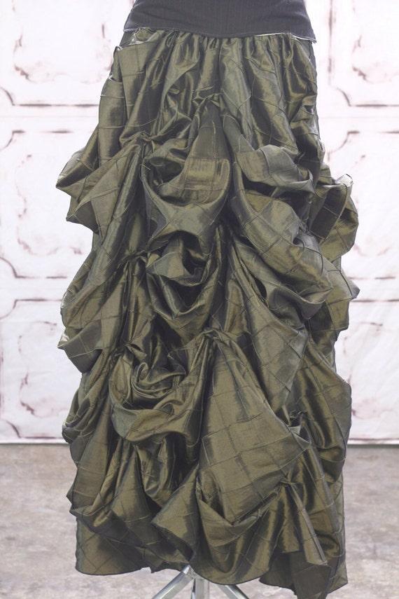 Army Green Diamond Pintuck Full Length Bustle Skirt