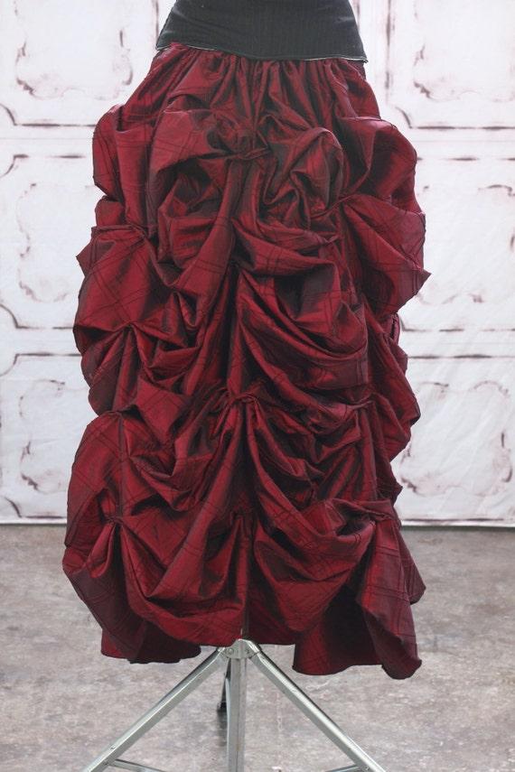 Red Diamond Pintuck Full Length Bustle Skirt
