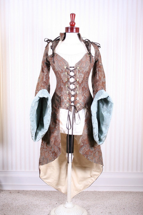Was 425.00 Last Of This Fabric, Waist 28 to 30  Brown and Teal Paisley Peacock Pirate Coat