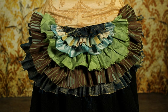 Tattered Bustle Ruffle in Brown, Green, and Teal