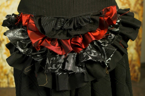 Tattered Bustle Ruffle in Black, Silver and Red
