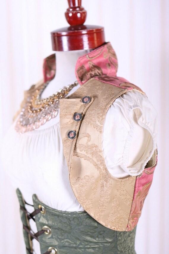 Pink and Gold Vine Cropped Vest Size Medium
