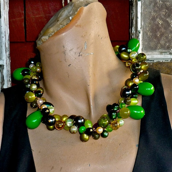 Olives and Moss,  a necklace made of vintage glass and lucite beads