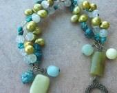 Turquoise, aquamarine and freshwater pearl bracelet