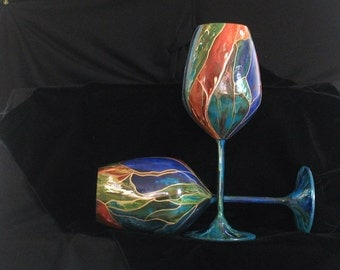 Hand Painted Stained Glass themed wine glasses set of 2 - Dishwasher Safe