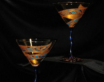 Hand Painted Gold Swirl Martini Glasses - Cobalt Blue stem - signed by artist - Stained Glass Look - Set of 2 - Dishwasher SAFE