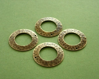 vintaj natural raw brass hammered ring, 4 pieces, 22mm hammered brass ring