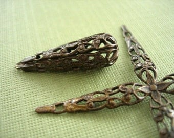 vintaj brass droplet filigree wrap, vintaj filigree bead, 9 x 27mm vintaj brass, one piece