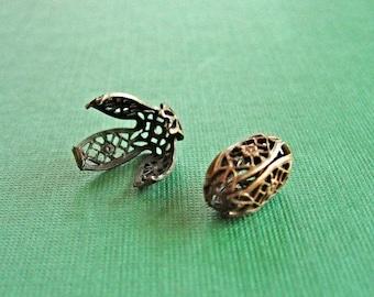 vintaj brass filigree bead wrap, vintaj filigree setting, one bead 15 x 9mm