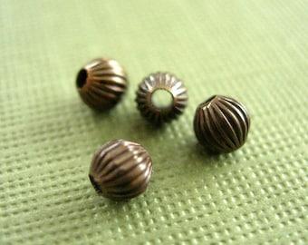 melon beads, vintaj brass melon bead, 4mm, small brass beads, 4 pieces