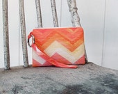 New Summer Orange Chevron  Wristlets  Ready to ship cell phone, iphone, camera gadget bag