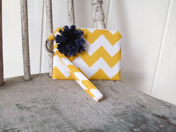 New yellow Chevron accented with Navy flower Wristlets  Ready to ship cell phone, iphone, camera gadget bag