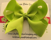 Lilly/Large Boutique Twisted Hair Bow - Choose From Over 80 Colors Of Ribbon