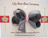 Custom  order for KRISTENFOUX Set of 3 Monogrammed Hair Bows - Pansy/Toddler Size - Curlz font