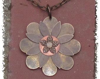 Vintaj Brass Layered Flower Pendant Necklace