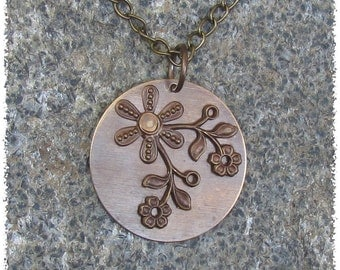 Vintaj Layered Antique Brass Necklace with Riveted Flowers and Leaves