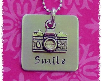 Smile Hand Stamped Square Silver Aluminum Tag with Camera Charm Necklace