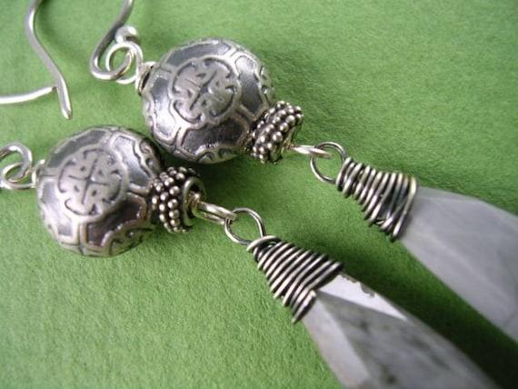SALE - Smoky Gray Cat Eye Quartz and Sterling Earrings