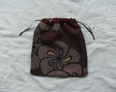 antique Japanese fabric- deep red drawstring pouch