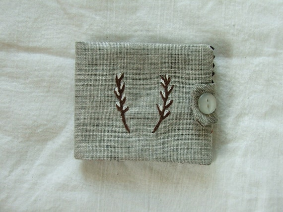 small linen needlecase- pussy willow