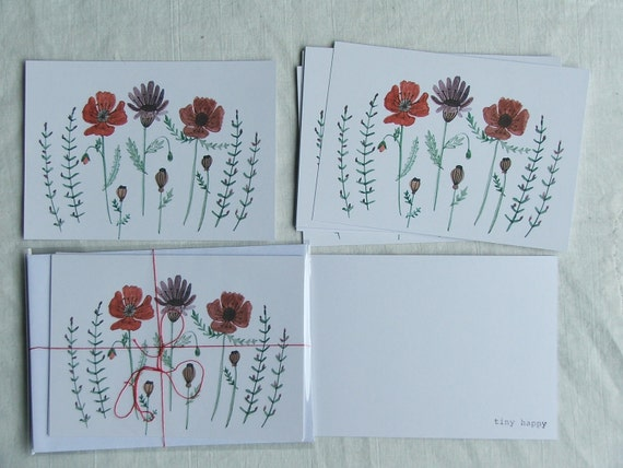 watercolour card set- poppies
