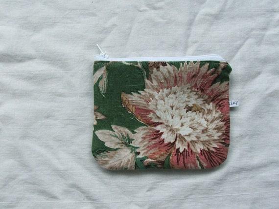 green sanderson linen- vintage fabric coin purse