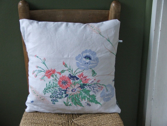wildflower pillow cover- blue poppies