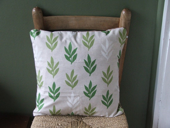wildflower pillow cover - green leaves