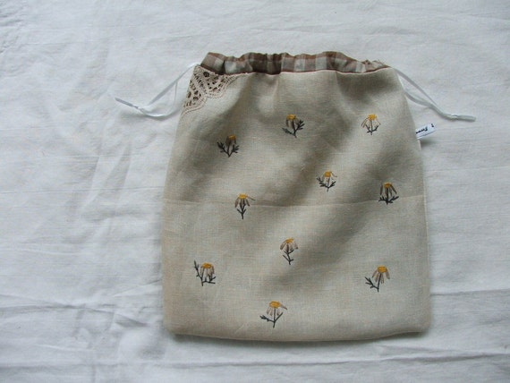 grey daisies - an embroidered drawstring pouch or project bag