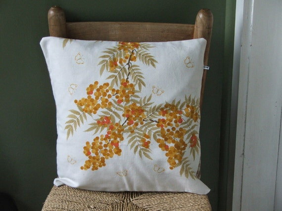 wildflower pillow cover - yellow berries and butterflies