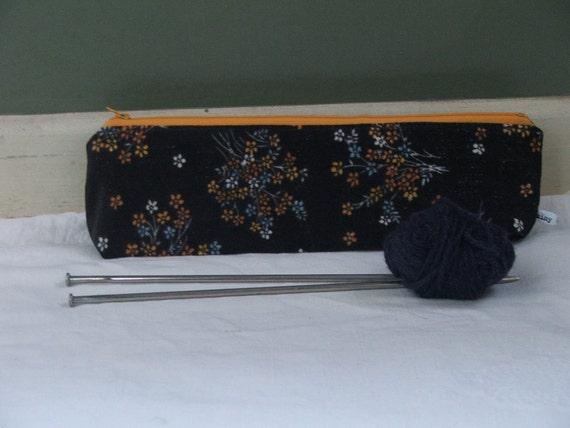 retro knitting case- vintage velveteen