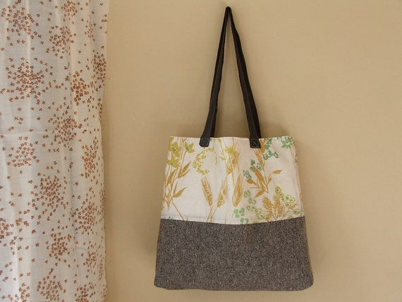 recycled tote bag - mustard yellow botanicals