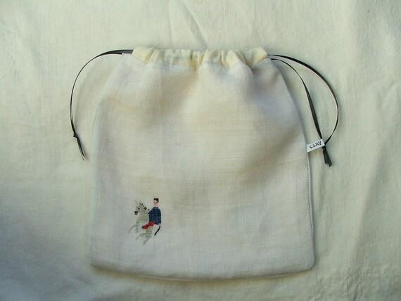 cross-stitched unicorn- a drawstring pouch