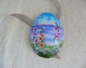 Seaside Garden Handpainted Eggshell Pin