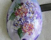 Hydrangea Bouquet Handpainted Eggshell Pin\/Pendant