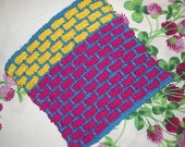 Colorful Ballband Handknit Dishcloth