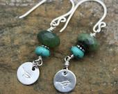 Handmade Gemstone Earrings, Turquoise, Jade, Bird Stamped Sterling Silver Disc, Sterling Earrings, Turquoise Earrings