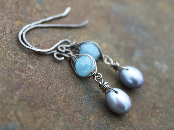 Wire Wrapped Gemstone Earrings, Blue Quartz, Freshwater Pearls, Sterling Silver