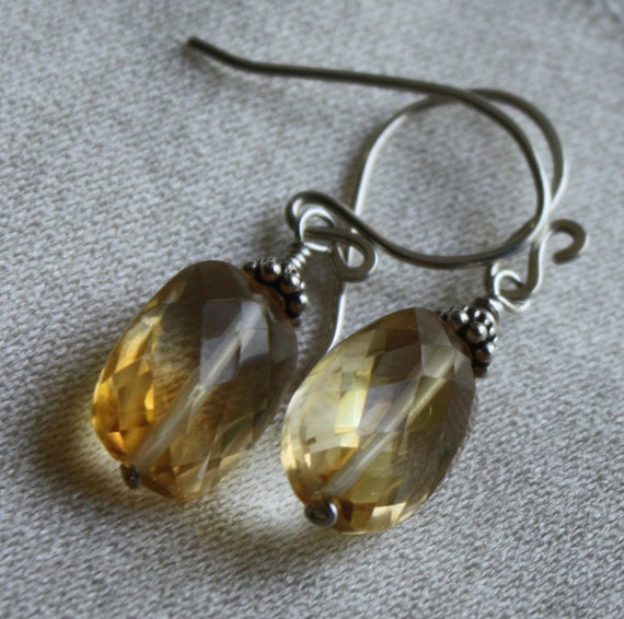 Citrine Earrings, Large Faceted Ovals, Gemstone Earrings, Golden Sparkles