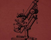 vintage microscope diagram tee, guy or girl, choose your colors
