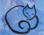 Original Cat Painting Number 6 - for Courageous Cats - 8 x 10 by Isaac and Me