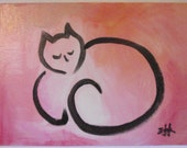 Original Cat Painting - Pink Kitty Sleeping - 9 by 12 for Courageous Cats